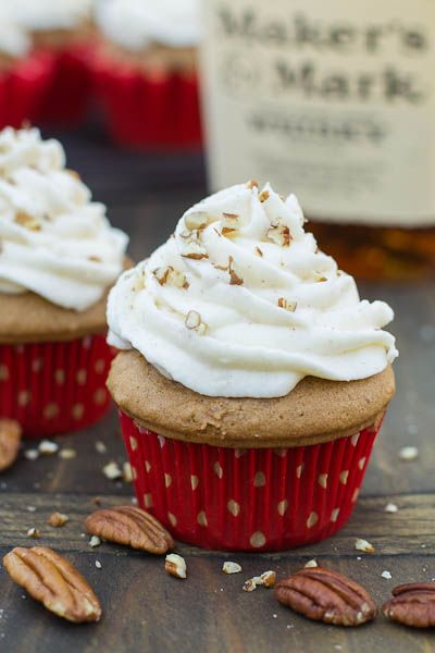 Bourbon Spice Cupcakes - Spice Cake with a Marscapone, Cream Cheese, Nutmeg, Cinnamon & Bourbon Frosting by Spicy Southern Kitchen