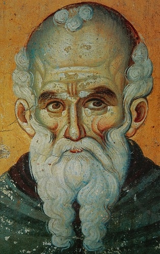 St. Athanasius the Athonite, Byzantine wall painting from the Protaton Church on Mount Athos, Greece (1295., author: Manuel Panselinos)