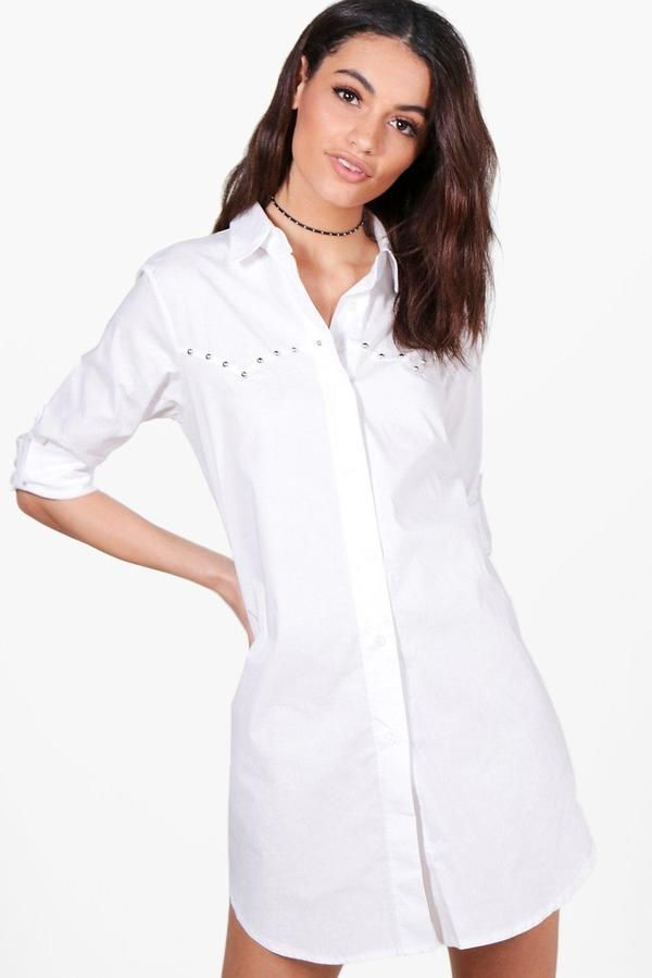 boohoo Lola Studded Shirt Dress