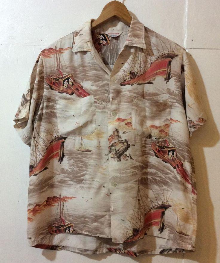 50'sアロハシャツビンテージハワイアンレーヨンs日本製made in lapan半袖和柄ちりめんカハナモク