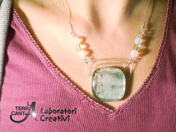"""Grey and gold necklace fused glass sterling by LaTerraCanta IN A SHORT TIME, MANY CHANGES AND RENEWAL IN MY SHOP .. AND THEN? TAKE THE OPPORTUNITY! -30% UNTIL 31 DEC. code """"RENEWAL""""!!!"""