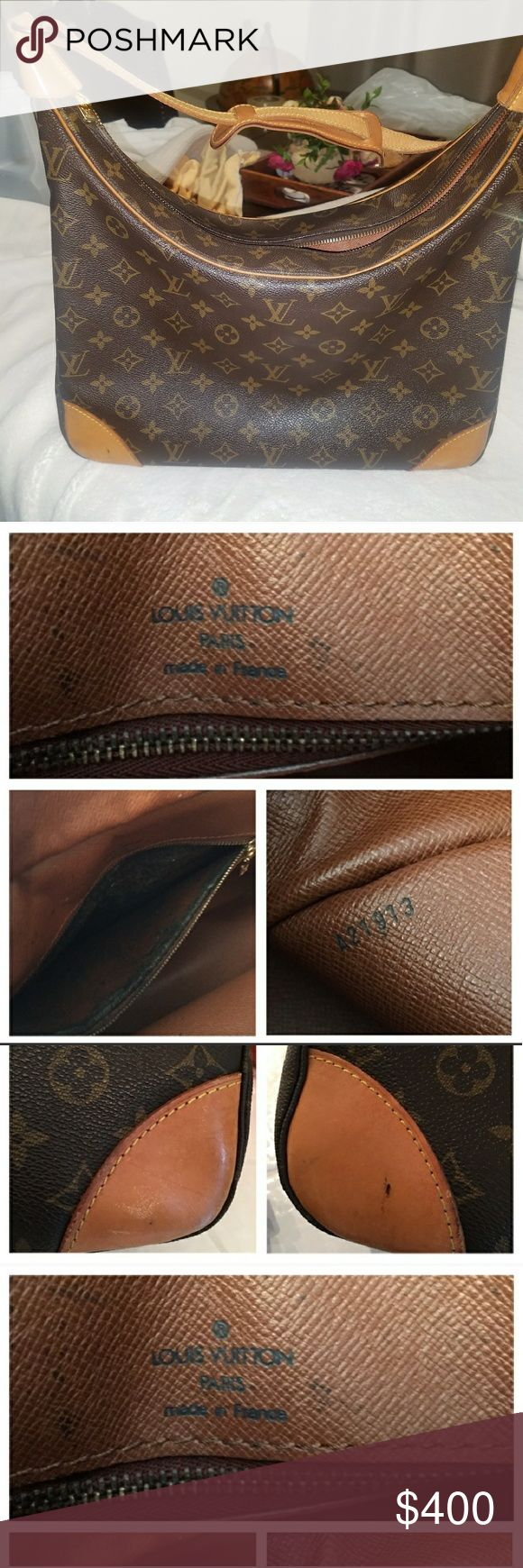 """Authentic Louis vuitton Boulogne 35 Authentic Louis vuitton Boulogne 35, the largest size. Perfect size to fit everything plus some. Can also be used as a computer bag. Golden time on hardware. Honey patina on leather. Zipper pocket is peeling and sticky. Zipper is stiff. W13.7""""x H13.3""""x D4.33"""" Strap 24""""-30"""". Date code A21913 Louis Vuitton Bags Shoulder Bags"""