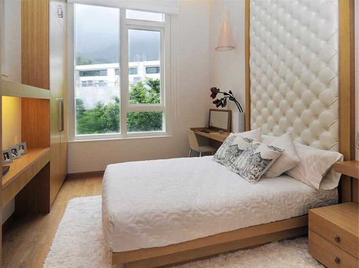 Small Bedroom Design With Modern High Headboard Bed Equipped With Modern  Wood Bedside Table With Drawer Part 51