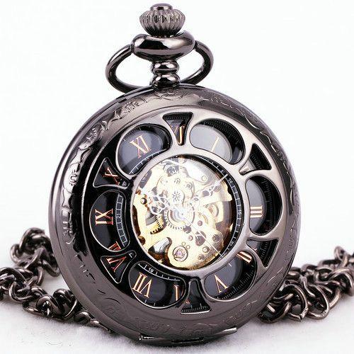 TD Unisex Women Retro Floral Hollow Automatic Mechanical Pocket Watch Pendant Chain Necklace Clock + BOX