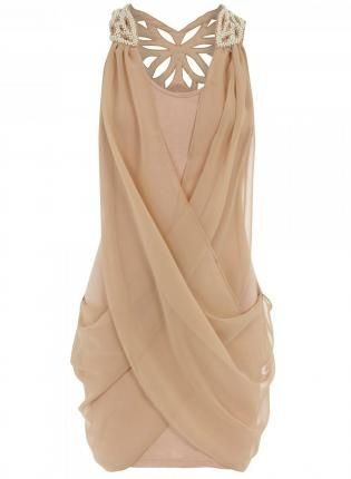 nude chiffon dress - Click image to find more Women's Fashion Pinterest pins