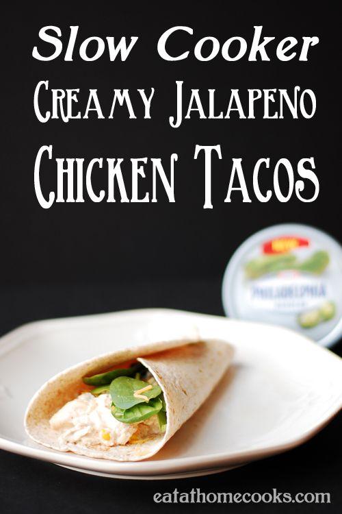 Slow Cooker Creamy Jalapeño Chicken Tacos