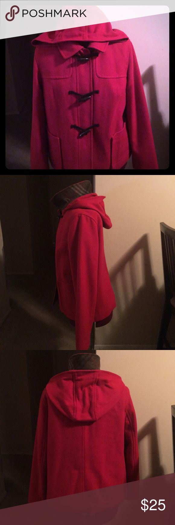 Old Navy Red Toggle Coat - $20 Old Navy Red Wool Toggle Coat with red lining  - $20, Size L Old Navy Jackets & Coats Pea Coats