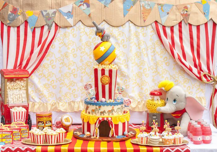 Dessert table from a Dumbo Circus Birthday Bash via Kara's Party Ideas | KarasPartyIdeas.com (15)