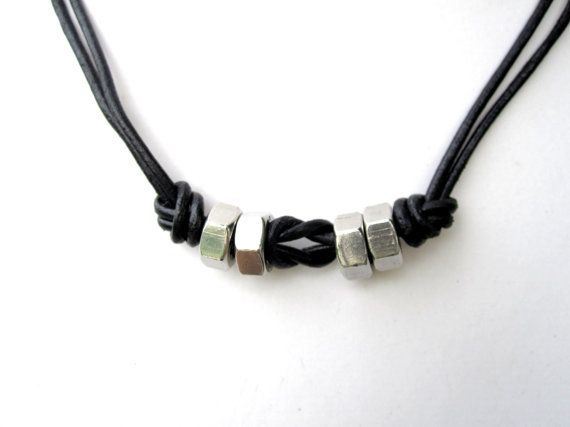 Mens Leather Necklace Mens Hardware Necklace Hex Nut Necklace Industrial Jewelry  Found Object Jewelry Unisex Jewelry