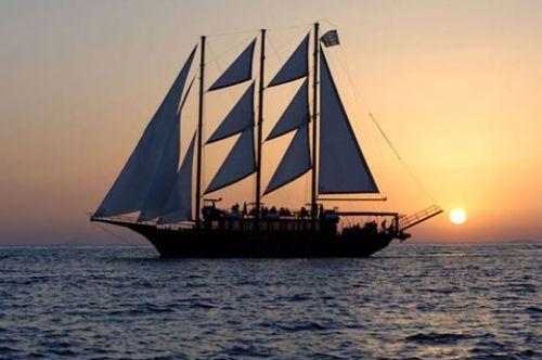 Santorinis fantastiske solnedgang