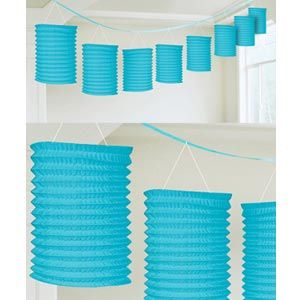 A22055/54 - Lantern Garland - Blue 3.65m Lantern Garland Blue Contains 8 x paper lanterns (10cm x 16cm) on a garland (3.65m)  Please note: approx. 14 day delivery