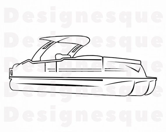 50+ Pontoon boat clipart black and white info