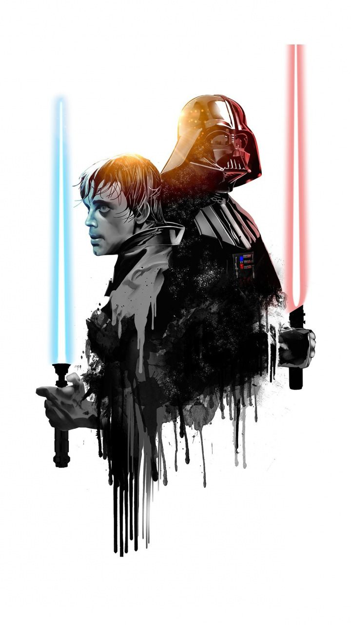 Darth Vader Luke Skywalker Star Wars Minimal 720x1280