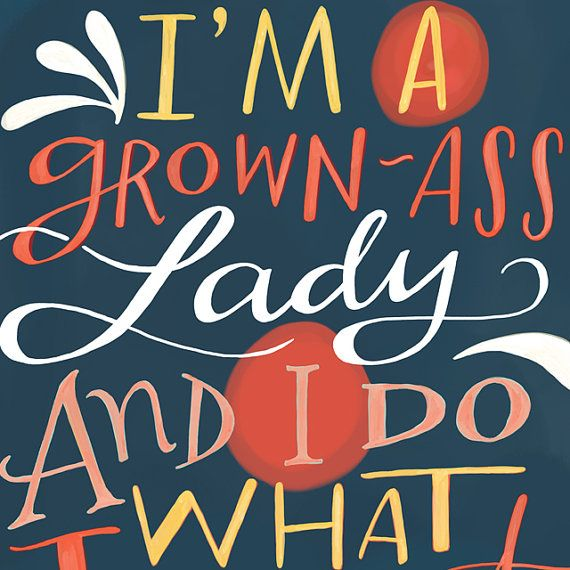 "GROWN-ASS LADY Inspirational Quote Print: 8""x10"" Wall Art Hand-Lettered Typography"