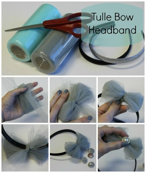 DIY Tulle Bows - put it on a headband and add a rhinestone. So cute!
