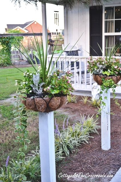 How to mount flower baskets on wooden posts - Cottage at the Crossroads