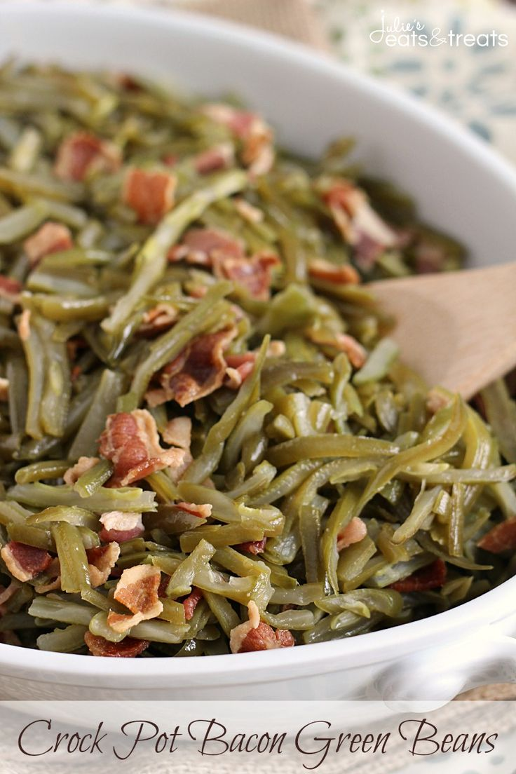 Crock Pot Bacon Green Beans ~ Quick and Easy Slow Cooked Side Dish Perfect for the Holidays! on MyRecipeMagic.com