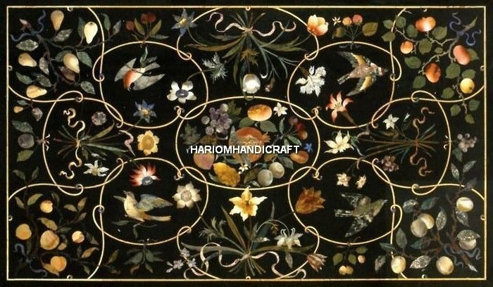 6'x3' Marble Dining Table Top Inlay Art Creative Stone Hallway Rare Decor H5098B #HariomHandicraftExport #ArtsCraftsMissionStyle #TableTop #MarquetryTableTop #LivingHomeArts #DecorativeTableTop #OutdoorTableTop