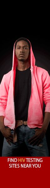 Testing Makes Us Stronger Vertical Animated Web Banner of African American male in a pink hoodie facing forward. Your HIV test result expires every time you have risky sex. Stay strong and informed. Get tested. HHS, CDC, Act Against AIDS. Enter location to find HIV Testing Sites