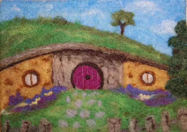 Free Needle Felting Tutorial for Needle Felting a Picture  - Needle Felted Hobbit House Free PDF Download