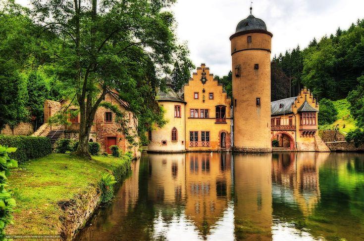 Download Hintergrund Burg,  Schloss Mespelbrunn,  Deutschland,  Wasser Freie desktop Tapeten in der Auflosung 3287×2182 — bild №336361