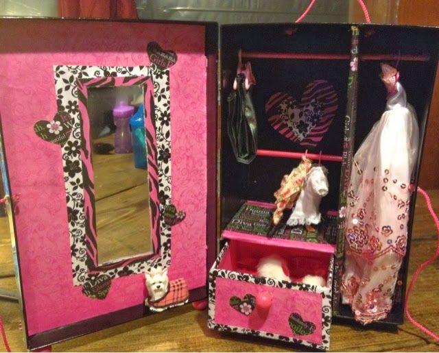 DIY projects: DIY fashion doll wardrobe/closet made from a photo storage box.