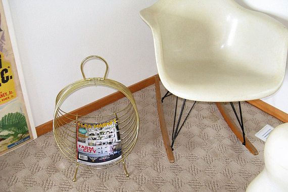 1960's Cool Atomic Style vintage wire Magazine Rack