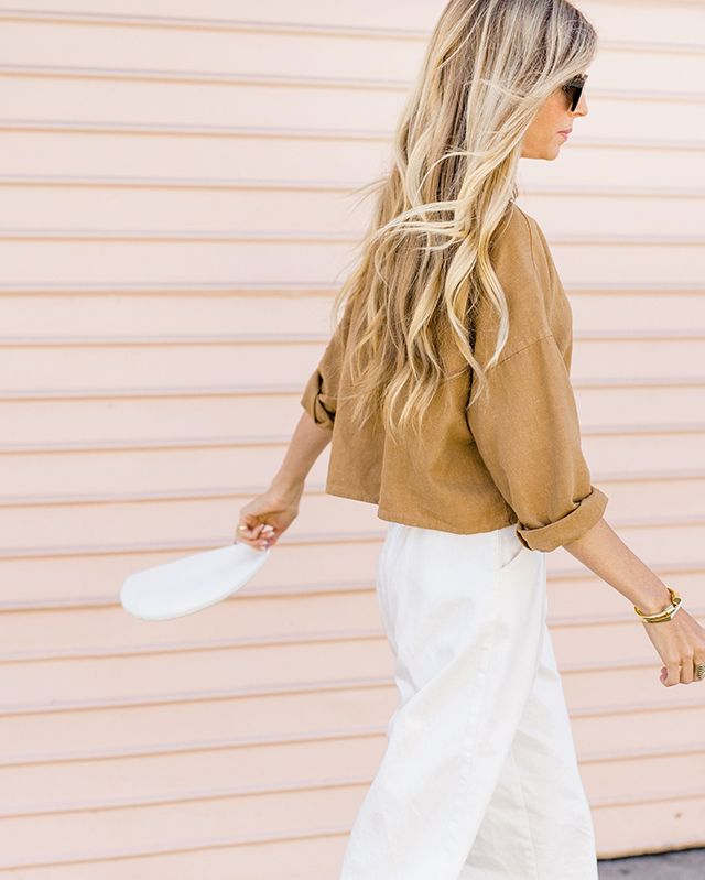 ochre linen top // white culottes