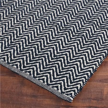 Cotton Chevron Flat Weave Rug Navy Abd Crewan 9x10 10x14