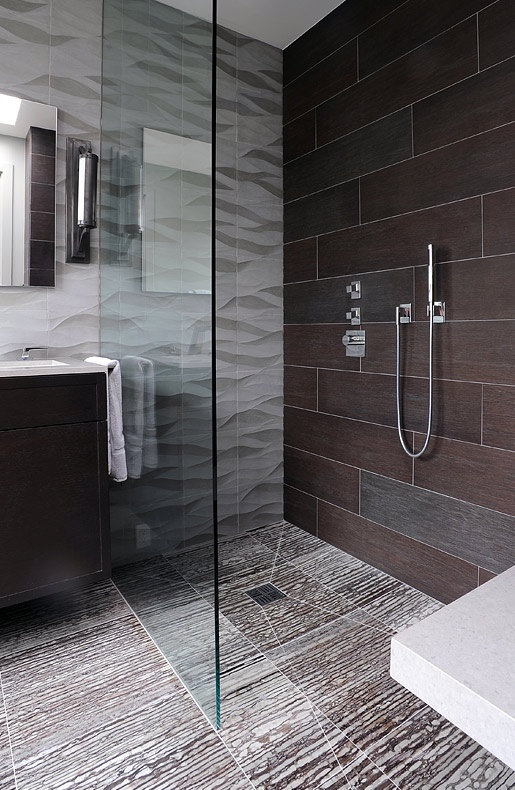 Zebrano as shower floor non linear but curbless shower for Non see through glass for bathrooms