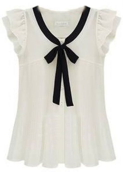 White Ruffle Sleeve Bow Tie Front Chiffon Blouse