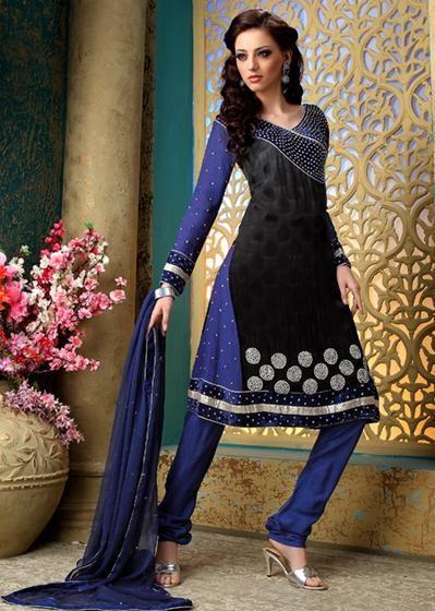 Black Stone Work Georgette Anarkali Salwar Kameez