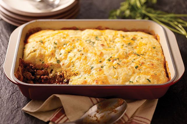 Love serving chili with cornbread? This beefy, cheesy Cornbread Casserole with Cheese delivers on your favorite flavor combination, with super easy prep.