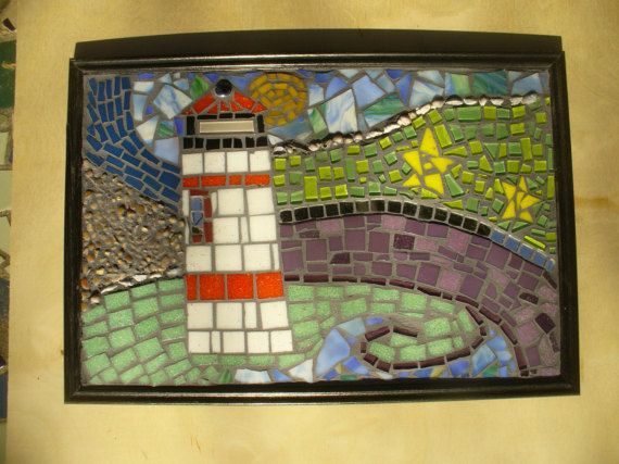 Whimsical Mosaic Lighthouse Picture by fairylandhomes on Etsy