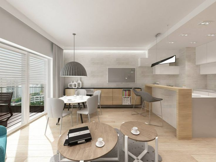 """Kapa Studio - barek z przestrzenią na krzesła, zabudowa obok zasłon, """"nieregularne"""" szafki w kuchni - różne formwy i rozmiary zachodzące na ściane salonu"""