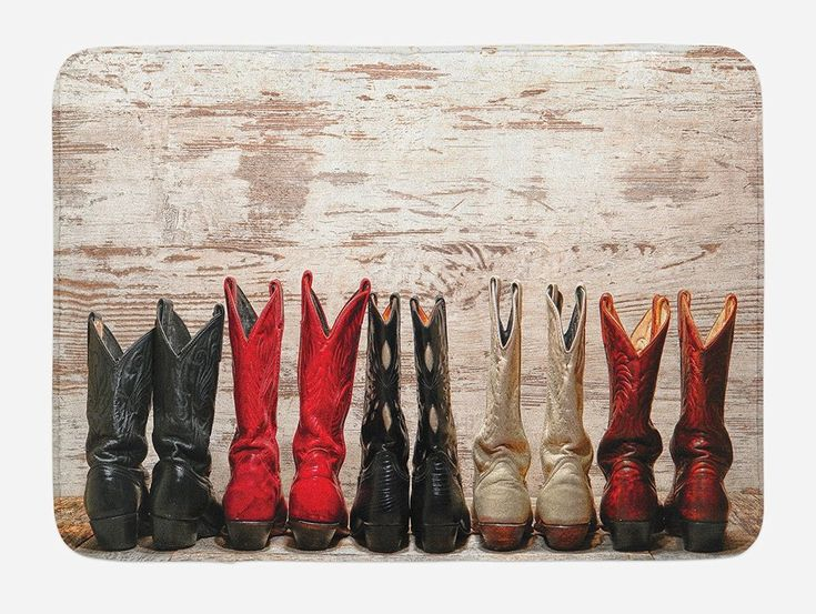 Western Bath Mat by Ambesonne, American Legend Cowgirl Leather Boots Rustic Wild West Theme Cultural Print, Plush Bathroom Decor Mat with Non Slip Backing, 29.5 W X 17.5 W Inches, Beige Red Black