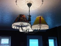 Ricks broke our horrid lampshades, so I made some new pretty ones.