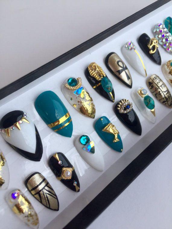 Presse sur les ongles dinspiration égyptienne par NailedByCristy