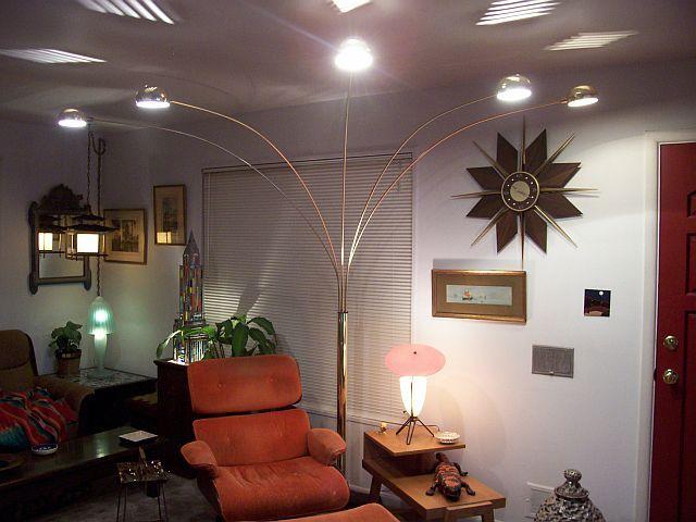 Vintage Mid Century Modern Arc Floor Lamp With 5 Spider Arm Lights   $600