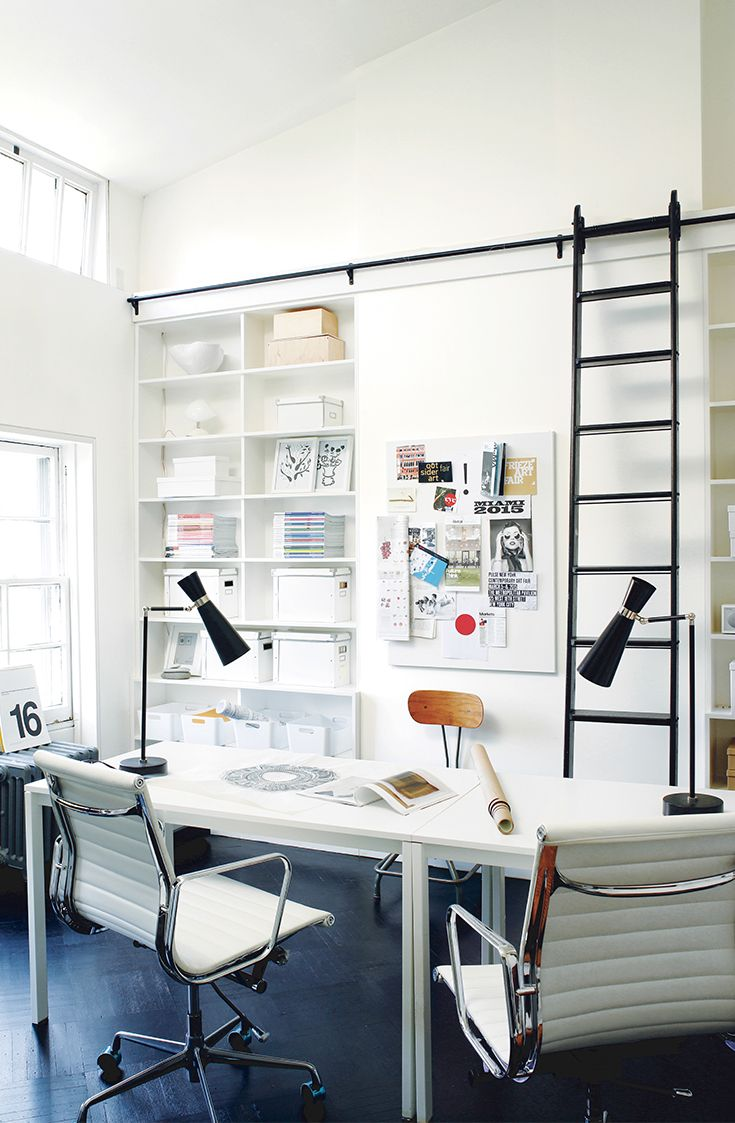 Work and play collide in this elegant urban workspace, perfect for young professionals. Painting trim, ceilings, and walls in Simply White OC-117 opens up the room and acts as a perfect canvas for natural light.