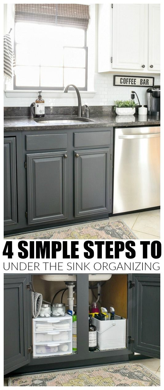 5 Simple Steps to a cleaner, neater and more organized under the kitchen sink cabinet. #organize #storage