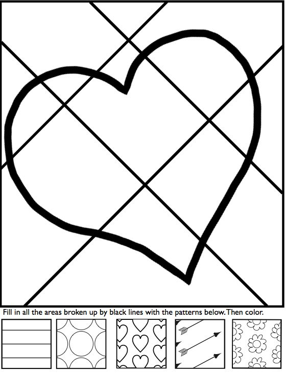 Interactive coloring sheets for Valentine's Day from Art with Jenny K.