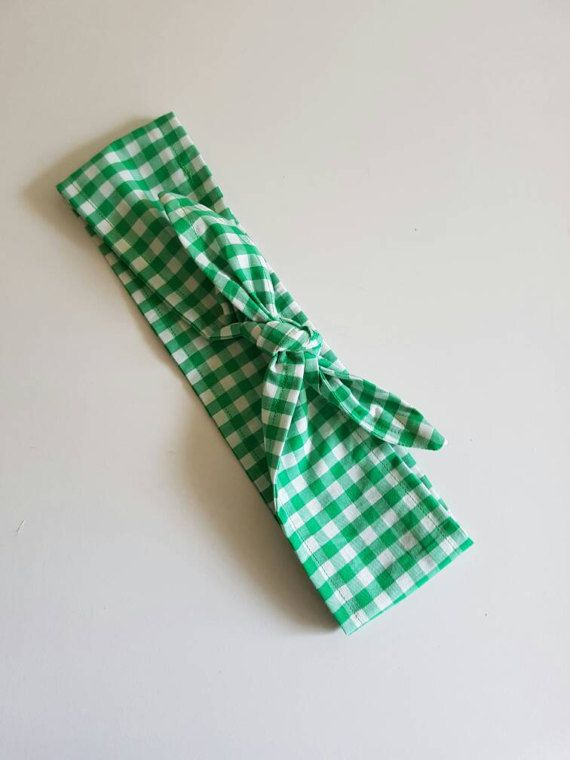 Check out this item in my Etsy shop https://www.etsy.com/au/listing/513196667/green-gingham-headband-tie-up-headband