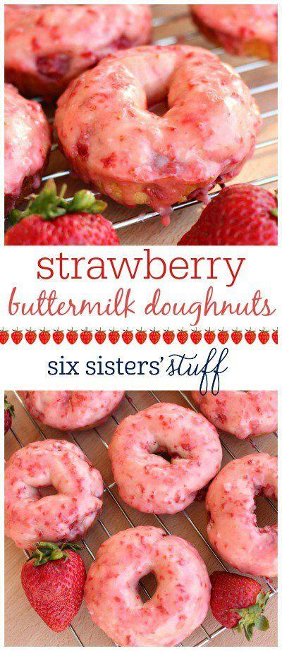 Strawberry Buttermilk Doughnuts on SixSistersStuff.com