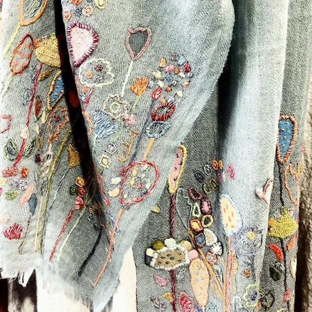 Detail of #sophiedigard #woolembroidered scarf #newstock #scarletjones #frenchdesign