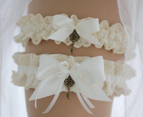 Lace Garter Floral Garters Bridal Garter Ivory Floral Garter Set Thin Garters with Ivory Flowers Wedding Garter Wedding Garter Set
