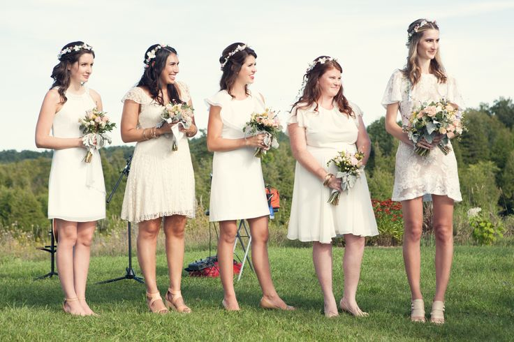 Our First Ever Wedding! Bridesmaids Flower Crowns! Simple Roses & White Flowers. Barn wedding at South Pond Farms! Photography by Rachelle Simoneau (http://www.rachellesimoneau.com/).  Crowns by Us: https://www.etsy.com/ca/shop/TwillnThistle