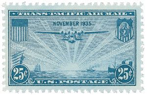 Was the first U.S. stamp to include the month and date it was issued in tis design (November 1935).
