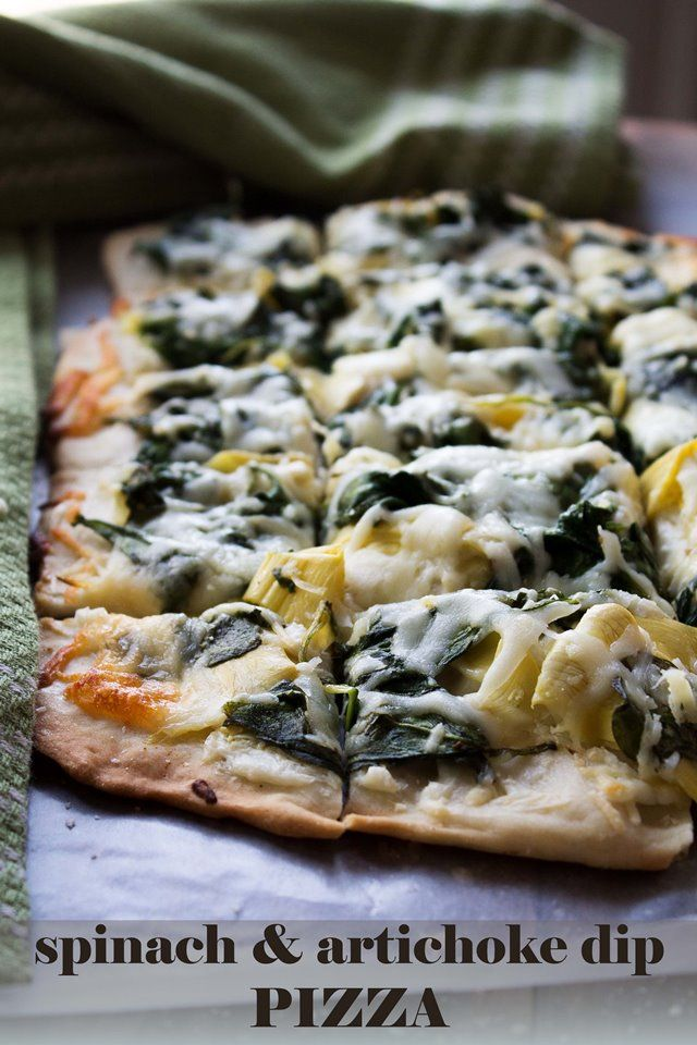 Spinach and Artichoke Dip Pizza | Homemade pizza crust topped with cream cheese, sauteed spinach, and artichokes | @Kate Mazur Mazur Mazur Petrovska | Diethood