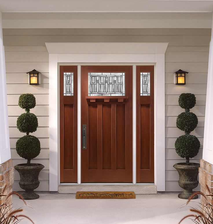 Barrington Mahogany Textured Fiberglass Door